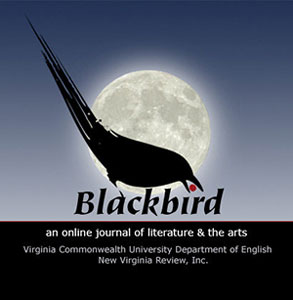 Blackbird journal logo: a stylized blackbird perched on the K of the word Blackbird overlaying the image of a photorealistic moon with a dark blue sky behind. The bird has a red berry in its beak the dot from the letter I in Blackbird.